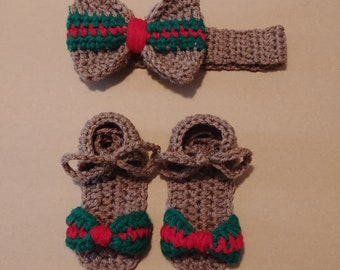Girl Crochet Shoes & Headband