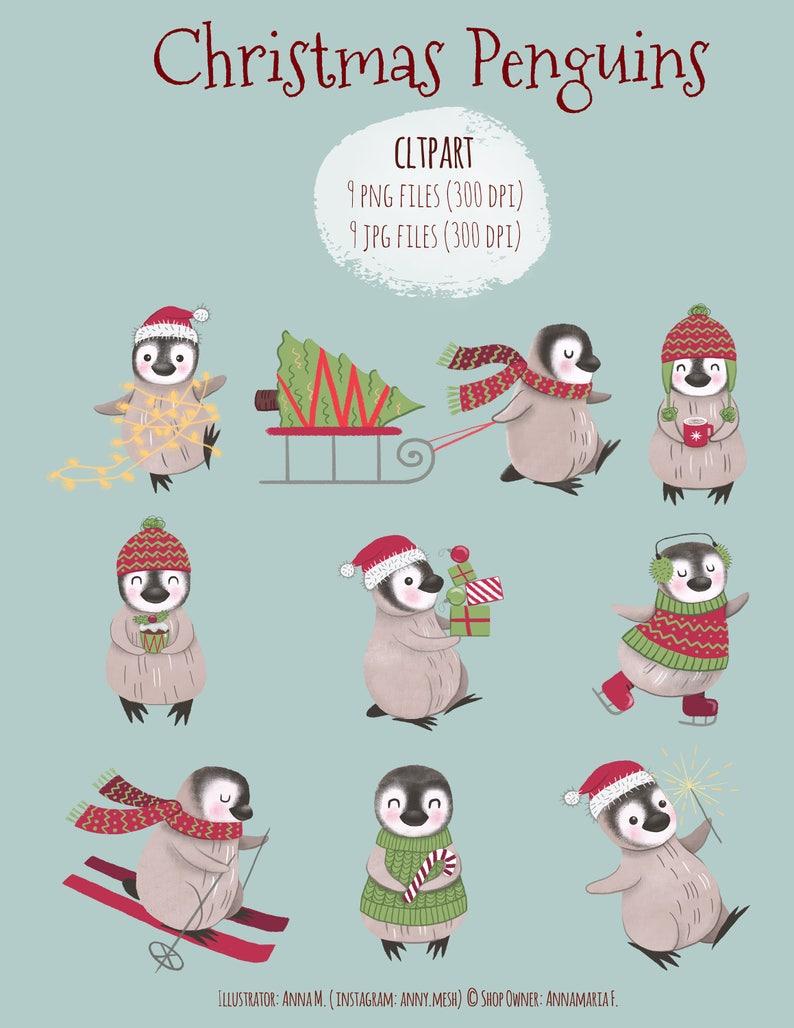 Weihnachtskarten Clipart.Niedlichen Pinguin Clipart Für Weihnachtskarten Weihnachten Handwerk Weihnachten Pinguin Cliparts Urlaub Abbildung Sofort Download