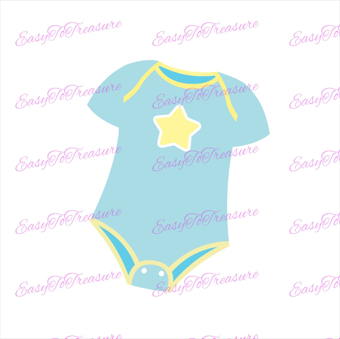 Digital Download Clipart Blue Baby Onesie JPEG and PNG ...