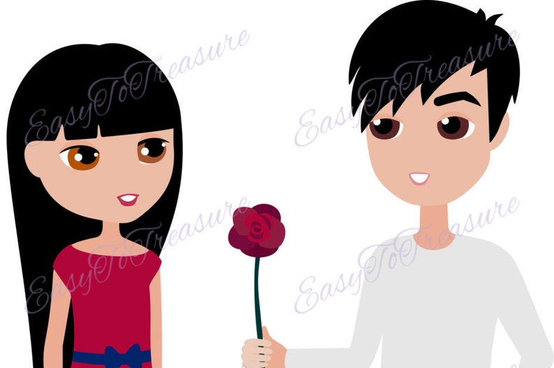 Digital Download Clipart \u2013 Valentine Clipart Young Couple with Rose JPEG and PNG files
