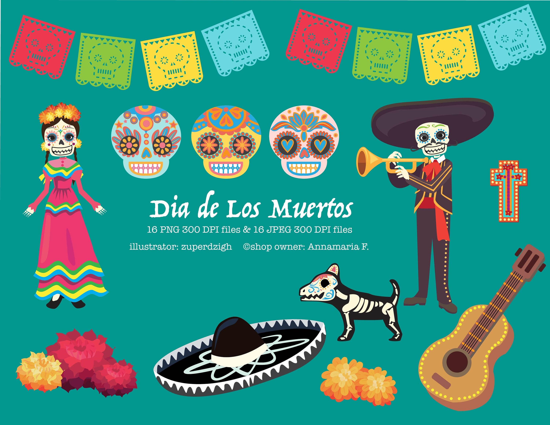 Tag der Toten Clipart Dia de Los Muertos Kunst mexikanischen | Etsy