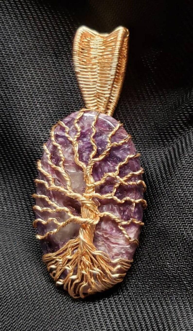 Lepidolite Tree of Life Pendant
