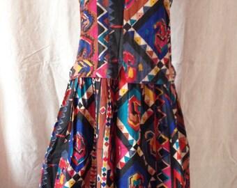 Dress vintage, sleeveless, multicolor, Gandhara, T L.
