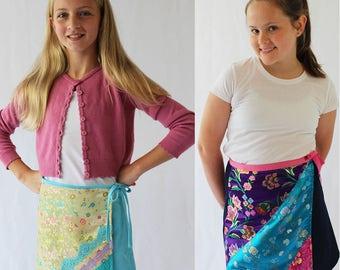 Girls skirt pattern, girls wrap skirt pattern, girls pattern, girls skirt pdf, girls pdf pattern, wrap skirt, skirt pattern, pdf pattern