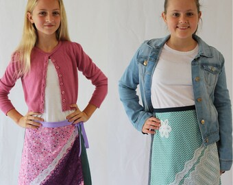 Girls skirt pattern, girls sewing pattern, tween pattern, girls woven pattern, girls skirt pdf, girls pdf pattern, wrap skirt pattern