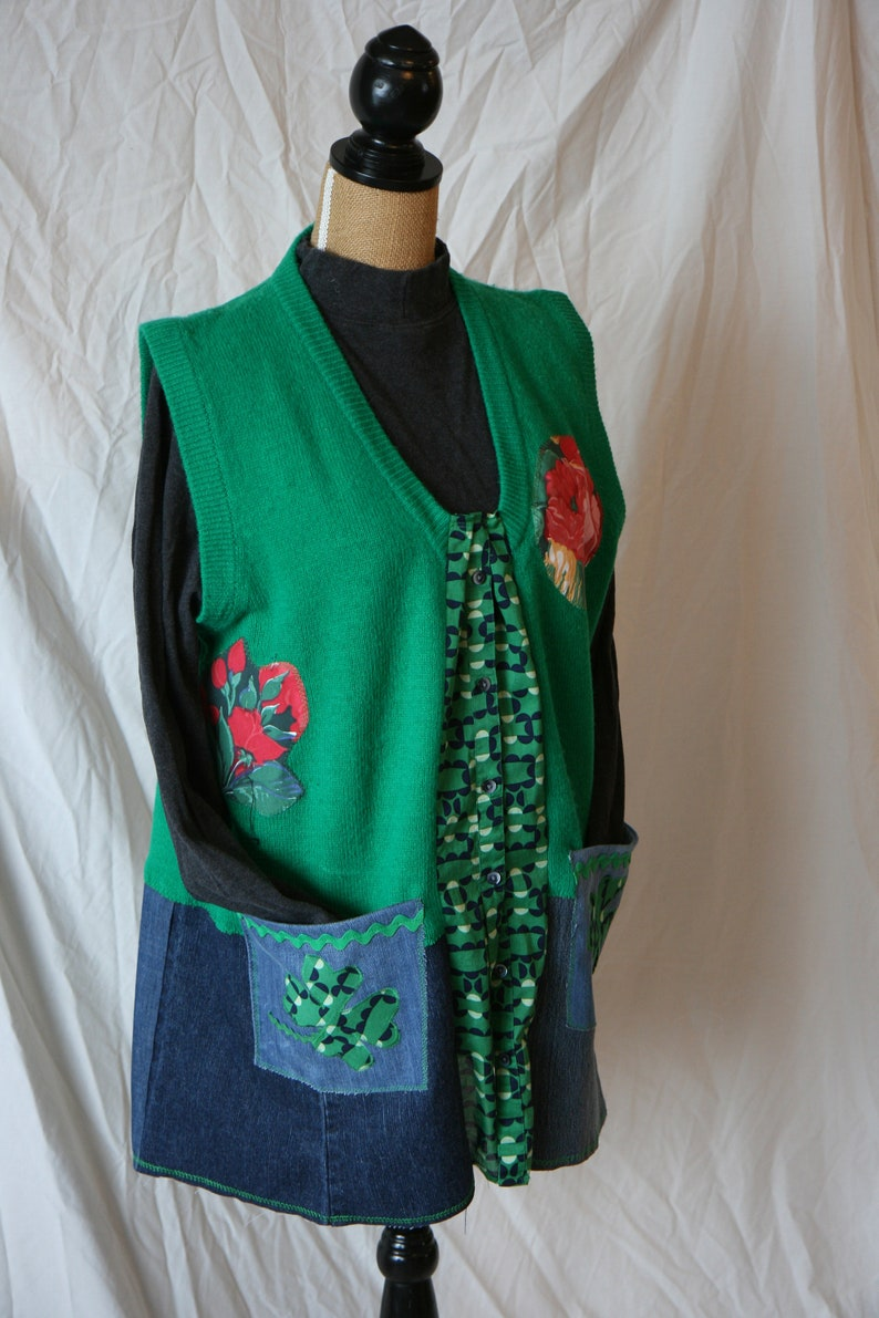 plus size distressed denim tunic Patrick/'s day tunic L-2XL green tunic vest up cycled long vest St casual green vest