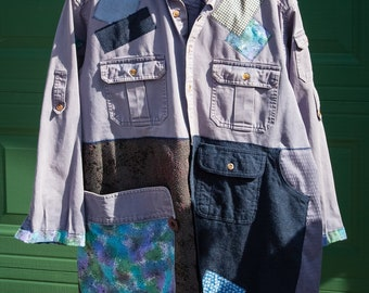 denim coat, up-cycled jacket, repurposed