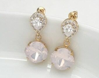 Bridal earrings drop, rhinestones bridal earrings, bridal jewelry, CZ bridal earrings, cubic zirconia earrings, crystal earrings, studs