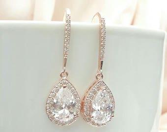 Bridal earrings rose gold CZ bridal earrings Bridal crystal earrings Rhinestones earrings stud, bridal jewelry Bridesmaids earrings jewelry