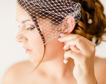 Voilette mariage rétro vintage, accessoire de coiffure, bijoux de mariage, coiffes mariées - Bridal bandeau veil, wedding birdcage veil