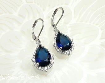 Bridal earrings navy blue, CZ bridal earrings, Bridal crystal earrings, Rhinestones earrings, bridal jewelry, Bridesmaids earrings jewelry
