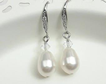 Bridal earrings, CZ bridal earrings, Bridal crystal pearl earrings, Rhinestones earrings, bridal jewelry, Bridesmaids earrings jewelry