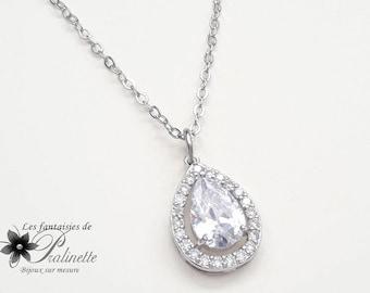 Bridal necklace, Wedding necklace, wedding pendant, transparent wedding necklace, zircon crystal pendant, drop bridal necklace, drop pendant