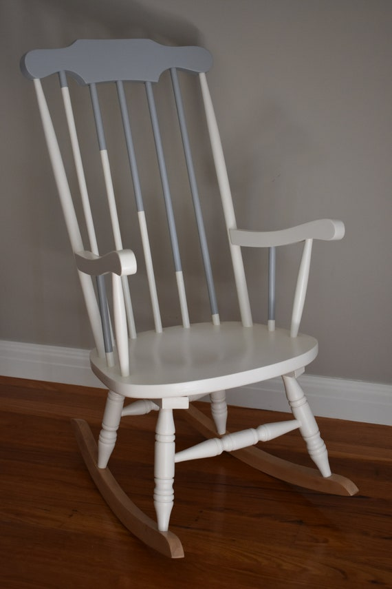 Phenomenal S O L D Rocking Chair Adult Size Vintage Pre Loved Hand Painted In White And Grey With Timber Sealed Rockers Camellatalisay Diy Chair Ideas Camellatalisaycom