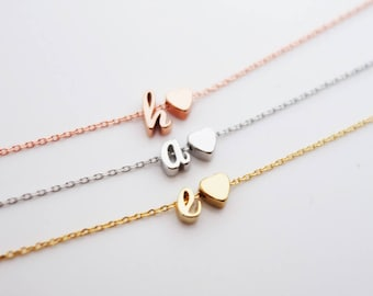 15. Heart Initial Bracelet, personalized lowercase cursive monogram dainty,Letter and Heart Charm ,Personalized Jewelry Gift,Custom Bracelet