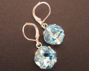 Aquamarine Drop Earrings Aqua Blue Bridesmaid Jewelry Aqua Crystal Dangle Earrings Blue Wedding Jewelry Square Swarovski Earrings