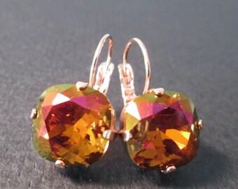 New Rose Gold  Mahogany Swarovski Earrings/Mohogany Rose Gold Crystal Earrings/Rose Gold Earrings/Bridesmaid Jewelry/Statement Earrings