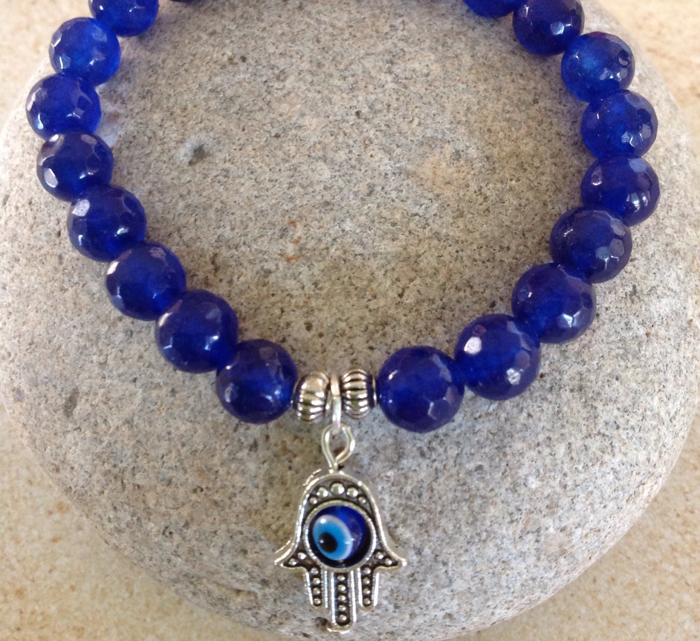 saphir bleu couleur de perles braceletgood chance main. Black Bedroom Furniture Sets. Home Design Ideas