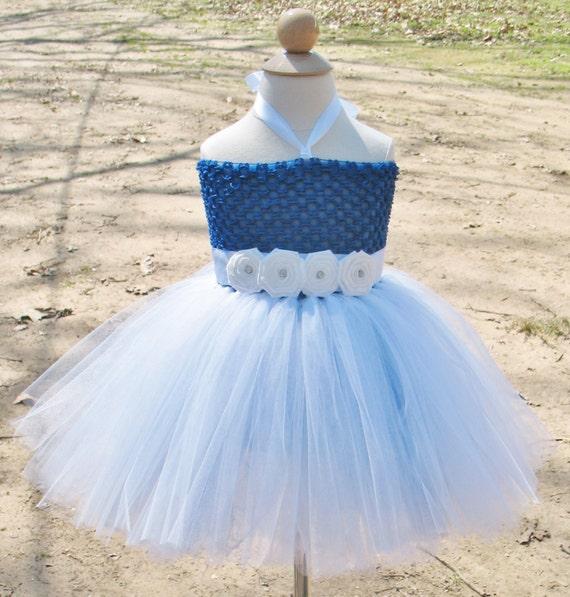 Royal blue and white flower girl dress Toddler flower girl | Etsy