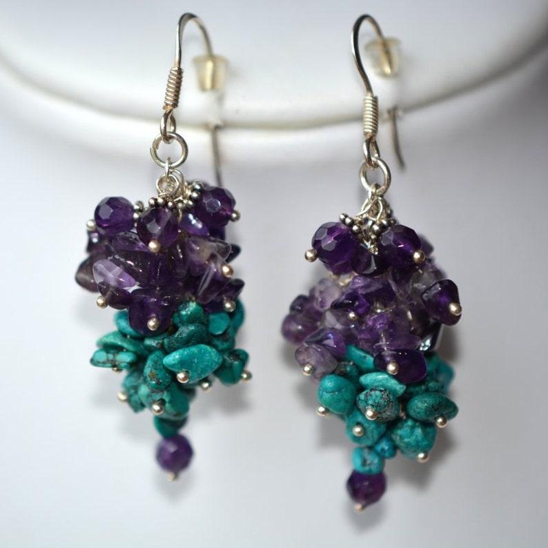 Amethyst Turquoise Cluster Earrings