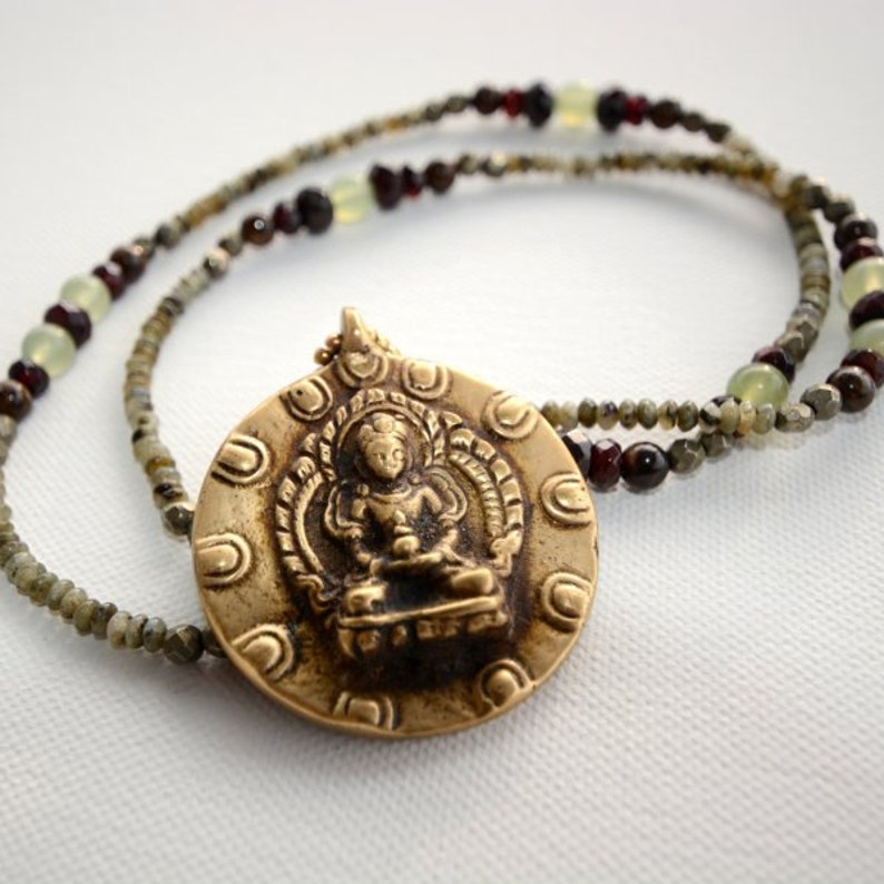 Tibetan old brass amulet with necklace made of Jade Buddhas Blessing Pyrite Bronzite and Labradorite Garnet