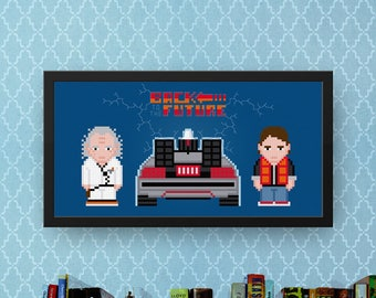 Back To The Future Cross Stitch Pattern Modern | Cross Stitch Charts Movie | Car Cross Stitch Design | Marty McFly | Emmett Brown | DeLorean
