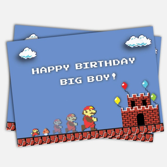 Classic Super Mario Bros Birthday Cardgrow Up Mushroom Big Etsy