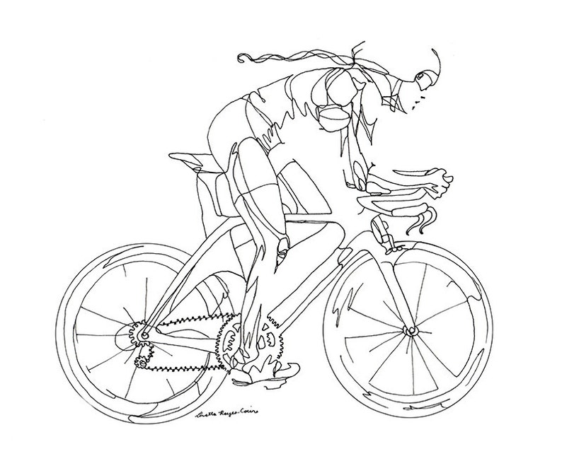 Art Print Of Line Drawing Woman Cyclist Etsy