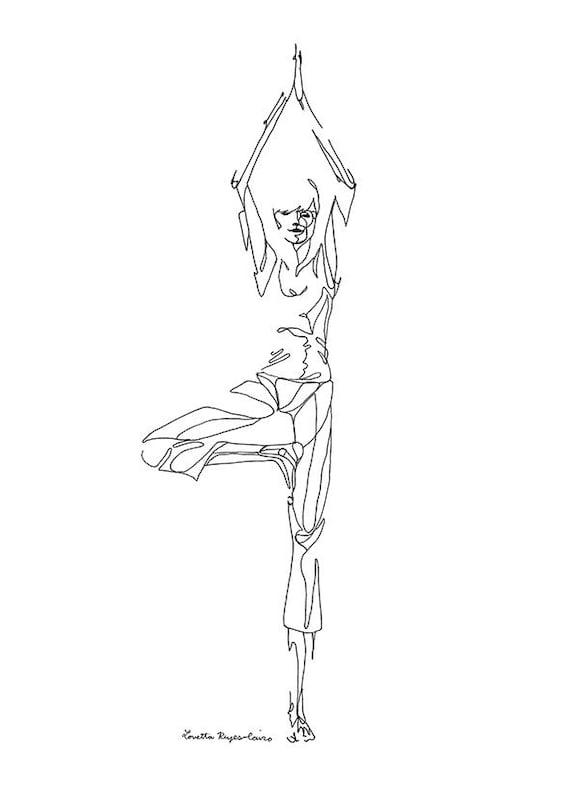 Telechargement Numerique Du Dessin Au Trait Yoga Posture De Etsy