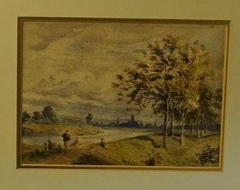 Original antique watercolour painting 19c English School pastoral with fishermen Old England wellbeing peaceful gift