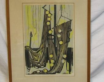 Viktor Kulle (1896 -1982) Swedish artist Hanging Textiles abstract silkscreen proof print wall art decor vintage frame mid century living