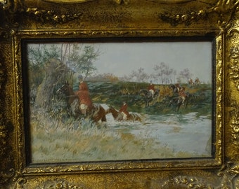 Original old German Hunting painting Anton Hoffmann Munchen (1863-1938)  horse gift traditional sport art old frame unique gift