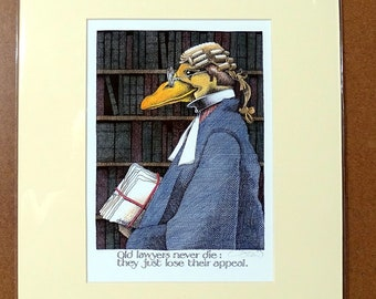 Simon Drew Print, Old Lawyer, Signed, Mounted Art, English Artist, Wall Decor, Funny Picture, Legal Gift, Barrister, Solicitor, Judge