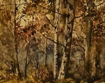 Original old watercolour painting art J W Goldsmith English School framed Forest outside wellbeing quiet old fashioned gift