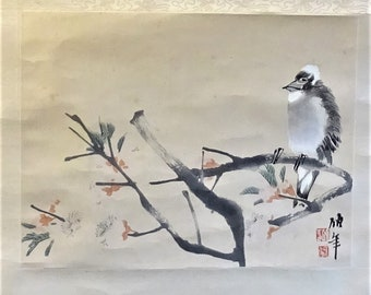 Ren Bo Nian Re Yi Chinese woodblock print hand coloured birds on branch scroll Wall Decoration Art signed ornithologist nature lover gift