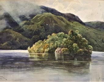 George Aikman (1830-1905) original antique watercolour painting Ellen's Isle Loch Katrine Lake District unique gift new home Scottish artist