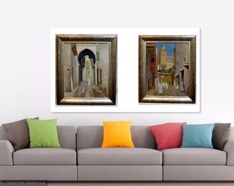 Norman Lloyd 2 original oil paintings Morocco N Africa Arab art framed listed Australian artist оригинальные произведения искусства incl COA