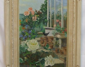 Jacqueline Pietersen Charles Cundall original oil painting art in original frame rare signed Mothers Day Gift gardener Mother Lady Lover