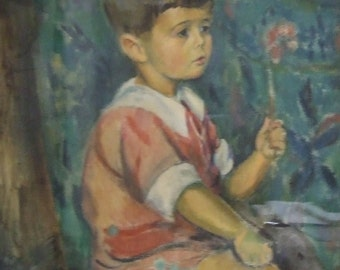 Vintage Scandinavian original oil painting boy with flower signed framed dated 24 naive art Gift Worldwide shipping COA
