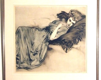 Georg Sturm (1855-1923), reclining lady, antique etching print, signed, Dutch artist, Art Deco wall hanging, erotic art, unique gift