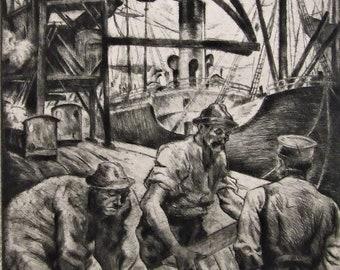 Hermann Stehr (1887-1958) intaglio etching print German Docks scene vintage old art gift