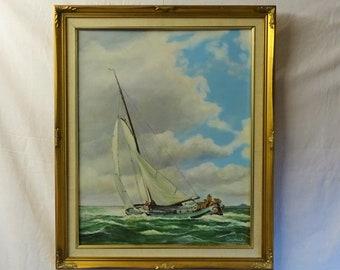 Original oil painting Dutch sailing barge Skutsjesilen Zuider Zee Don Mackay 1988 art Netherlands sailor unique gift framed signed seascape
