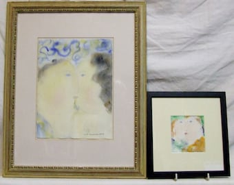 Dora Holzhandler original watercolours The Kisses A PAIR listed Jewish artist Husband Wife Lovers Romantic art gift incl world shipping