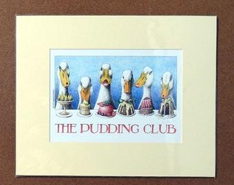 Simon Drew The Pudding Club English funny animal duck art wall decor print food cook chef desert sugar baker lover small English gift