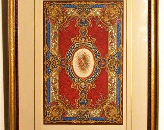 2 colour antique lithographs 1853 Carpets Great Exhibition interior decoration designer items new home colourful wall art English art