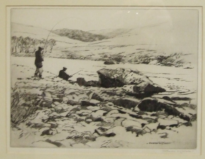 Fly Fishing Norman Wilkinson vintage small original etching image 0