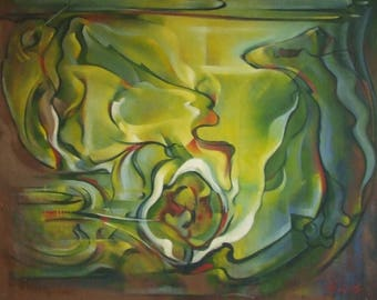 Original large oil painting Helen Sutton ARCA FRSA Swirling Waters metaphysical vintage poss mid century worldwide delivery
