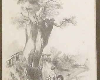 Antique 19c pencil drawing Children in a lane Initialled S.H 1842 small art global gift