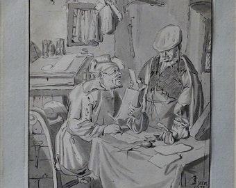 Antique Print, Accounts, after Jan Steen, Dutch Master, Cornelis Ploos van Amstel, Wall Decor, Wall Art, Framed Art, Signed, Accountant Gift
