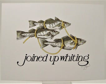 Simon Drew Joined up Whiting fish writing LARGE print signed art BNIB Humorous lawyer husband man solicitor barrister wife lover art gift